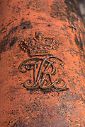 Royal mark on a cannon at Fort Charlotte in Nassau, Bahamas. Built in 1789 by Lord Dunmore and named in honor of the wife of King George III.