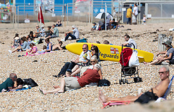 © Licensed to London News Pictures. 23/08/2019. Portsmouth, UK. Visitors to beach at Southsea, Portsmouth enjoy the sunshine. Record high temperatures are expected in parts of the United Kingdom over the three day bank holiday weekend. Photo credit: Peter Macdiarmid/LNP