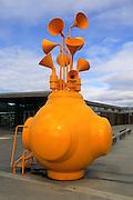 Unusual musical sculpture artwork based marine buoy design, city of Trondheim  Norway