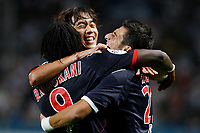 FOOTBALL - FRENCH CHAMPIONSHIP 2010/2011 - L1 - OLYMPIQUE MARSEILLE v AS MONACO - 11/09/2010 - PHOTO PHILIPPE LAURENSON / DPPI - JOY DANIEL NICULAE (ASM) WITH CHU-YOUNG PARK (ASM) AND DIEUMERCI MBOKANI (ASM)