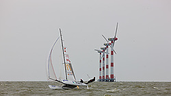08_004330 © Sander van der Borch. Medemblik - The Netherlands,  May 25th 2008 . Sebbe Godefroid and Carolijn Brouwer sailing just after the finish of the medal race of the Delta Lloyd Regatta 2008.