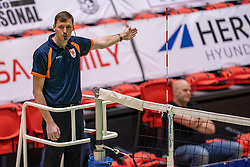 Referee Raymond Haamberg in action during the league match between Active Living Orion vs. Amysoft Lycurgus on March 20, 2021 in Doetinchem.