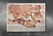Minoan wall art fresco from the Throne Room of Knossos, 1450-1300 BC. Heraklion Archaeological Museum.  Grey Background. <br /> <br /> This Minoan fresco depicts griffins and palm trees .<br /> <br /> If you prefer to buy from our ALAMY PHOTO LIBRARY  Collection visit : https://www.alamy.com/portfolio/paul-williams-funkystock/minoan-art-artefacts.html . Type -   Heraklion   - into the LOWER SEARCH WITHIN GALLERY box. Refine search by adding background colour, place, museum etc<br /> <br /> Visit our MINOAN ART PHOTO COLLECTIONS for more photos to download  as wall art prints https://funkystock.photoshelter.com/gallery-collection/Ancient-Minoans-Art-Artefacts-Antiquities-Historic-Places-Pictures-Images-of/C0000ricT2SU_M9w