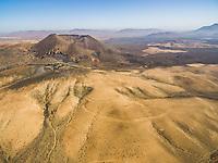Aerial view of the Monument natural of Caldera de Gairía in Fuerteventura, Canary Islands.