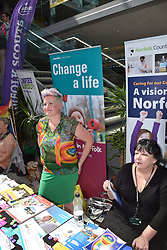 Norwich Pride, 28 July 2018 UK - Norfolk County Council stall promoting local services and fostering