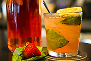 A specialty cocktail named Strawberry Fields Forever featuring infused gin, basil, strawberry, and lemon at Johnny's Tavern located at 30 Boltwood Walk in Amherst on July 25, 2018. (Chris Marion / The Republican)