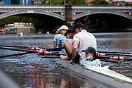 A young girl is seen in the coxswains seat as her four maneuvers into the boat ramps in the Yarra during the COVID-19 in Melbourne. With over a week of zero cases in Victoria, Premier Daniel Andrews is expected to make major announcements on Sunday about further easing of restrictions. (Photo by Dave Hewison/Speed Media)