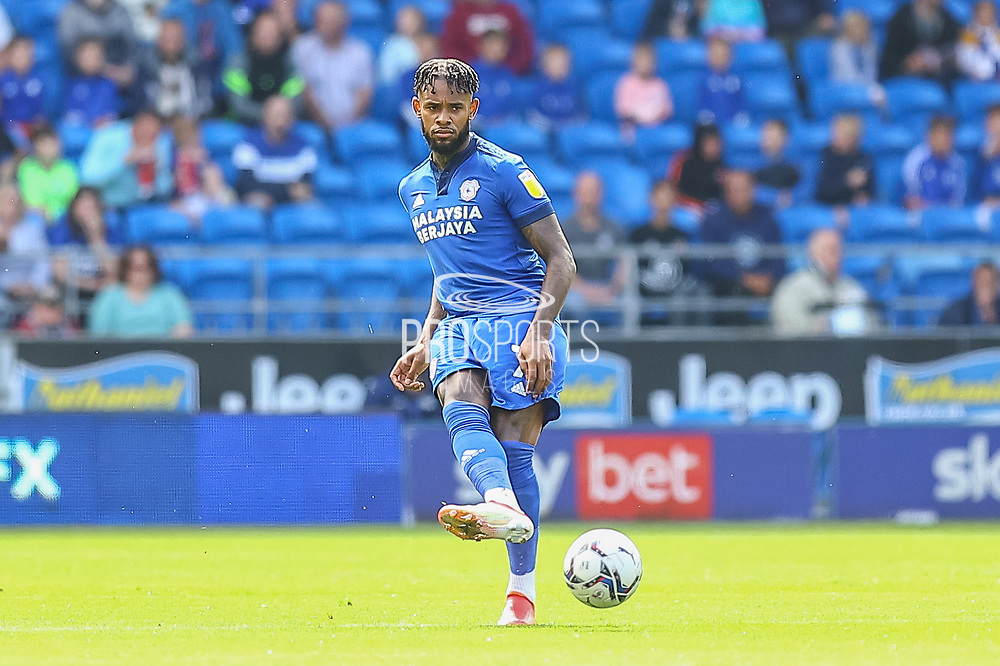 Cardiff City midfielder Leandro Bacuna (7) kicks off during the EFL Sky Bet Championship match between Cardiff City and Bristol City at the Cardiff City Stadium, Cardiff, Wales on 28 August 2021.