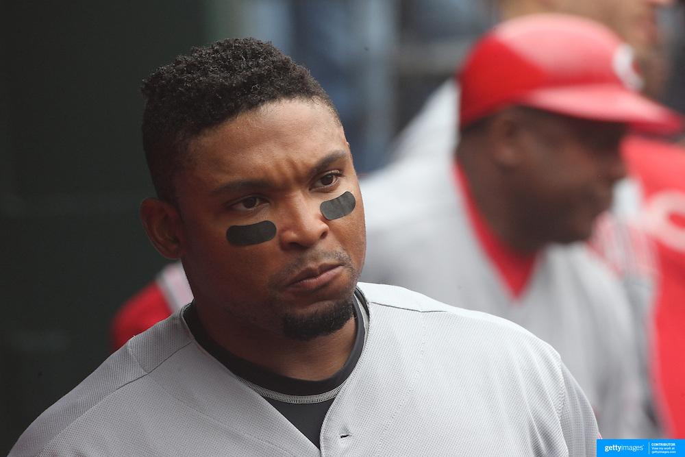 Marlon Byrd, Cincinnati Reds, in the dugout during the New York Mets Vs Cincinnati Reds MLB regular season baseball game at Citi Field, Queens, New York. USA. 28th June 2015. Photo Tim Clayton