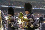 Twickenham, England, 7th March 2020, The Brass leaves the pitch, Tuba, Band of the Coldstream Guards,  Guinness Six Nations, International Rugby, England vs Wales, RFU Stadium, United Kingdom, [Mandatory Credit; Peter SPURRIER/Intersport Images]