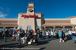 Hosted dinner stop at Grand Junction Harley-Davidson during Stage 10 (278 miles) of the Motorcycle Cannonball Cross-Country Endurance Run, which on this day ran from Golden to Grand Junction, CO., USA. Tuesday, September 15, 2014.  Photography ©2014 Michael Lichter.