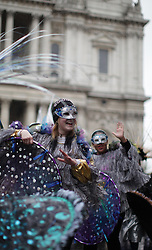 © Licensed to London News Pictures . The Lord Mayor's procession goes along St Paul's Cathedral to celebrate the election of the new Lord Mayor of the City of London Fionna Wolf CBE. The city lawyer is the  second female elected since 1983. (09/11/2013) . Photo credit : Isabel Infantes / LNP