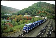 Conrail train comes down Horseshoe Curve, the 1854 engineering marvel that bridged Alleghenies. Pennsylvania