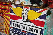 Highly politicised Bojo the clown, Boris Johnson virus street art and graffiti in Shoreditch as lockdown continues and people observe the stay at home message in the capital on 12th May 2020 in London, England, United Kingdom. Coronavirus or Covid-19 is a new respiratory illness that has not previously been seen in humans. While much or Europe has been placed into lockdown, the UK government has now announced a slight relaxation of the stringent rules as part of their long term strategy, and in particular social distancing.
