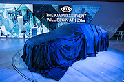 New York, NY - 1 April 2015. A new Kia waits for its unveiling at the New York International Auto Show.