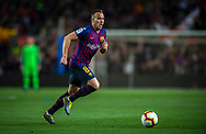 Arthur of FC Barcelona drives the ball during the Spanish league football match of 'La Liga'  FC BARCELONA against RAYO VALLECANO at Camp Nou Stadium of Barcelona on March 9,2019