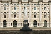 Milan, empty space during the massive shut down. Palazzo della Borsa, Stock exchange building