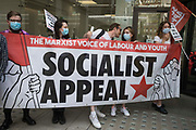 Supporters of Socialist Appeal attend a protest lobby outside the Labour Partys headquarters by left-wing groups on 20th July 2021 in London, United Kingdom. The lobby was organised to coincide with a Labour Party National Executive Committee meeting during which it was asked to proscribe four organisations, Resist, Labour Against the Witchhunt, Labour In Exile and Socialist Appeal, members of which could then be automatically expelled from the Labour Party.