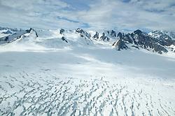 Yukon Scenic Aerial Of Glacier & Mountain
