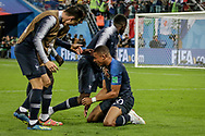 Kylian Mbappe of France with teammates celebrate after winning the 2018 FIFA World Cup Russia, Semi Final football match between France and Belgium on July 10, 2018 at Saint Petersburg Stadium in Saint Petersburg, Russia - Photo Thiago Bernardes / FramePhoto / ProSportsImages / DPPI