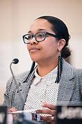 Madison Metropolitan School Board member Ali Muldrow looks on following the MMSD board swearing-in ceremony at Cesar Chávez Elementary School in Madison, WI on Monday, April 29, 2019.