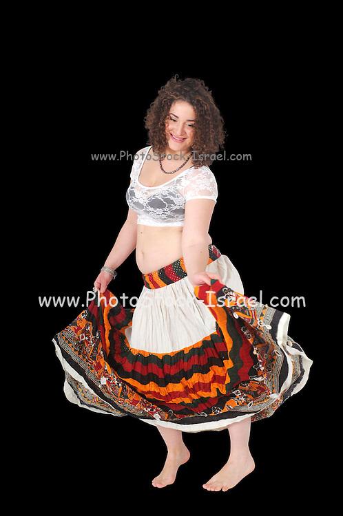 Egyptian Beladi style Belly dancer On white Background