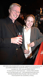 MR MIKE HOLLINGSWORTH former husband of Anne Diamond and MISS KIMBERLEY STEWART-MOLE, at a reception in London on 10th January 2002.			OWK 9