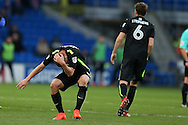 Steve Sidwell of Brighton (l) reacts after he gets caught by a boot to his head by Joe Ralls of Cardiff city (not in pic).EFL Skybet championship match, Cardiff city v Brighton & Hove Albion at the Cardiff city stadium in Cardiff, South Wales on Saturday 3rd December 2016.<br /> pic by Andrew Orchard, Andrew Orchard sports photography.