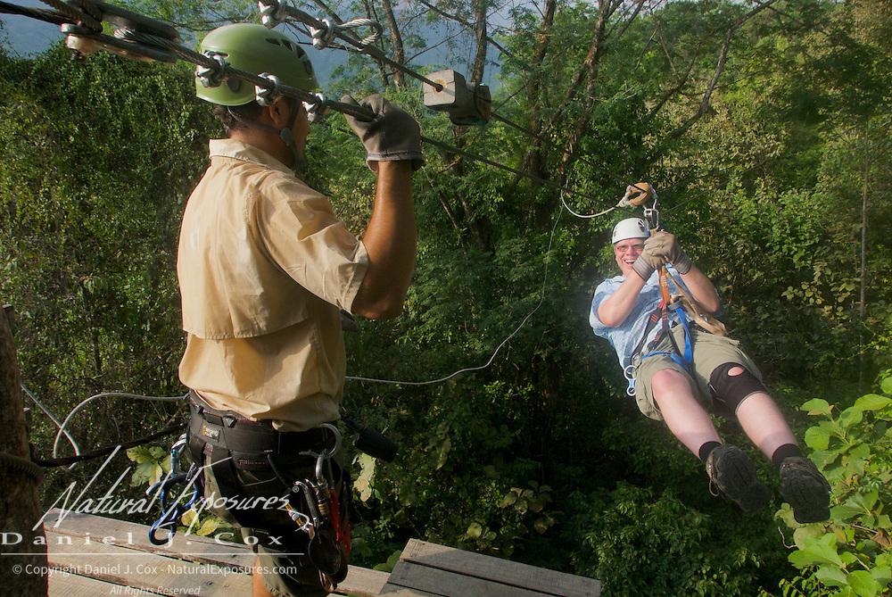 Paul coming in hot. Zip lining, Costa Rica.