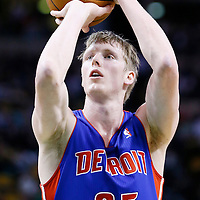 03 April 2013: Detroit Pistons shooting guard Kyle Singler (25) is seen at the free throw line during the Boston Celtics 98-93 victory over the Detroit Pistons at the TD Garden, Boston, Massachusetts, USA.