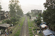 Railway tracks run through Dibrugarh, the end of India's longest train journey.<br /> Outside the Dibrugarh-Kanyakumari Vivek Express, the longest train route in the Indian Subcontinent. It joins Kanyakumari, Tamil Nadu, which is the southernmost tip of mainland India to Dibrugarh in Assam province, near the border with Burma.