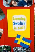 Swedish language school poster. Svenskarnas Dag Swedish Heritage Day Minnehaha Park Minneapolis Minnesota USA