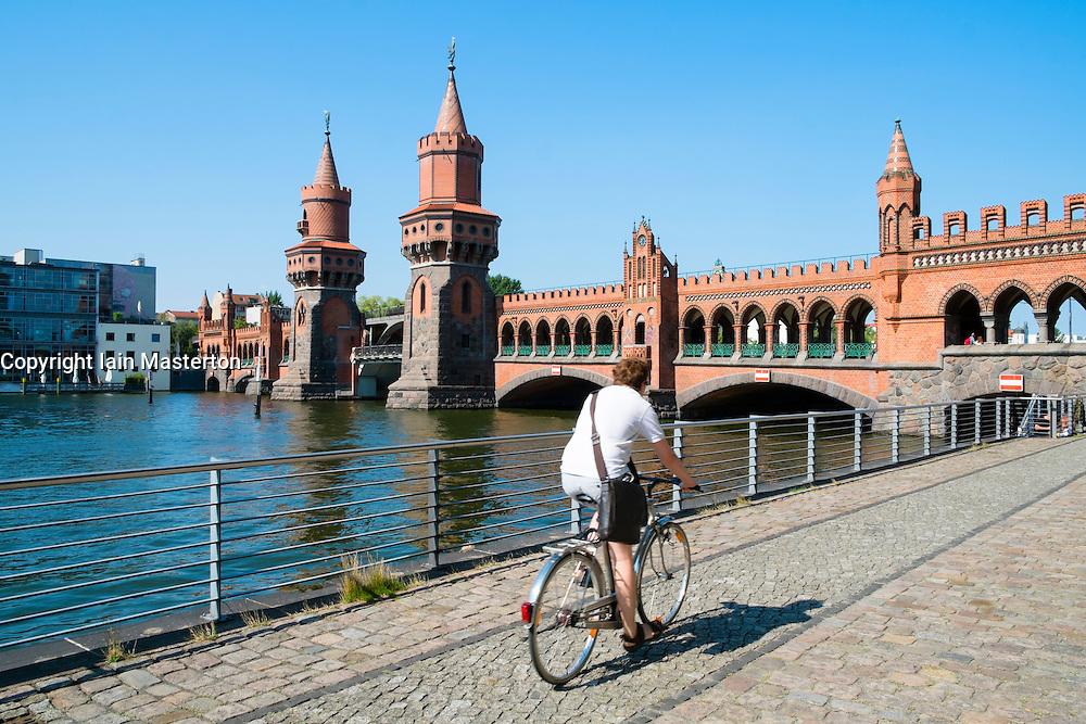 Oberbaum Bridge crossing River Spree in Berlin Germany