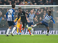 Brighton & Hove Albion's Yves Bissouma (right) battles for possession with  Chelsea's Tammy Abraham (centre)<br /> <br /> Photographer David Horton/CameraSport<br /> <br /> The Premier League - Brighton and Hove Albion v Chelsea - Wednesday 1st January 2020 - The Amex Stadium - Brighton<br /> <br /> World Copyright © 2020 CameraSport. All rights reserved. 43 Linden Ave. Countesthorpe. Leicester. England. LE8 5PG - Tel: +44 (0) 116 277 4147 - admin@camerasport.com - www.camerasport.com