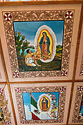 Details of paintings on the ceiling of the Parroquia de San Diego de Alcalá church in Quiroga, Michoacan, Mexico.