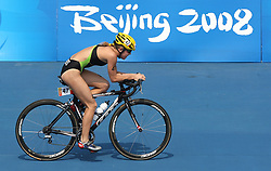 South Africa's Kate Roberts takes part in the cycling stage of the Women's Triathlon at the Ming Tomb Reservoir in Changping District of northern Beijing on day 10 of the 2008 Olympic Games in Beijing.during the 2008 Olympic Games in Beijing.