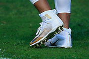 January 30 2016: Seattle Seahawks Russell Wilson cleats during the final Pro Bowl practice at Turtle Bay Resort on Oahu, HI. (Photo by Aric Becker/Icon Sportswire)