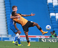 Brighton defender Uwe Huenemeier gets to grips with Hull City striker Abel Hernandez during the Sky Bet Championship match between Brighton and Hove Albion and Hull City at the American Express Community Stadium, Brighton and Hove, England on 12 September 2015. Photo by Bennett Dean.