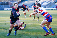 Halifax RLFC second row Edward Barber (4) breaks the tackle to score Halifax RLFC  final try of the game during the Betfred Championship match between Rochdale Hornets and Halifax RLFC at Spotland, Rochdale, England on 25 February 2018. Picture by Simon Davies.