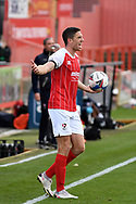 Cheltenham Town defender Ben Tozer (4) remonstrates with the referee during the EFL Sky Bet League 2 match between Cheltenham Town and Crawley Town at Jonny Rocks Stadium, Cheltenham, England on 10 October 2020.