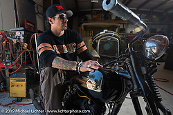 Billy Lane on his 1931 Harley-Davidson Model VL 74 c.i. bike at his shop, Ormond Beach, FL. Monday, March 16, 2015.  Photography ©2015 Michael Lichter.