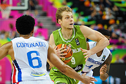 Jaka Blazic of Slovenia during basketball match between National Teams of Slovenia and Dominican Republic in Eight-finals of FIBA Basketball World Cup Spain 2014, on September 6, 2014 in Palau Sant Jordi, Barcelona, Spain. Photo by Tom Luksys  / Sportida.com <br /> ONLY FOR Slovenia, France