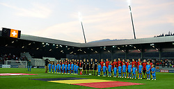 October 9, 2018 - Biel, SWITZERLAND - Both team line ups prior to a soccer game between Switzerland and Belgium's national team the Red Flames, Tuesday 09 October 2018, in Biel, Switzerland, the return leg of the play-offs qualification games for the women's 2019 World Cup. BELGA PHOTO DAVID CATRY (Credit Image: © David Catry/Belga via ZUMA Press)