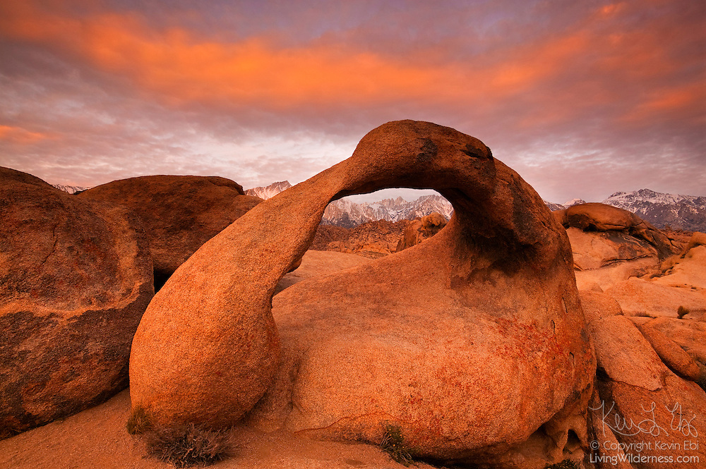 Mobius Arch, a natural granite arch in the Alabama Hills near Lone Pine, California, frames Mount Whitney at sunrise. Mount Whitney is the highest mountain in the contiguous United States with an elevation of 14505 feet (4421 m).