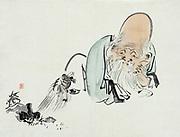 Fukurokuju, Japanese god of wisdom, wealth, long life and happiness, with a turtle, one of his associated animlas. One of Japan's seven lucky gods. Shibata Zeshin (1807-1891) Japanese artist. Print c1890. Folkore Religion Deity