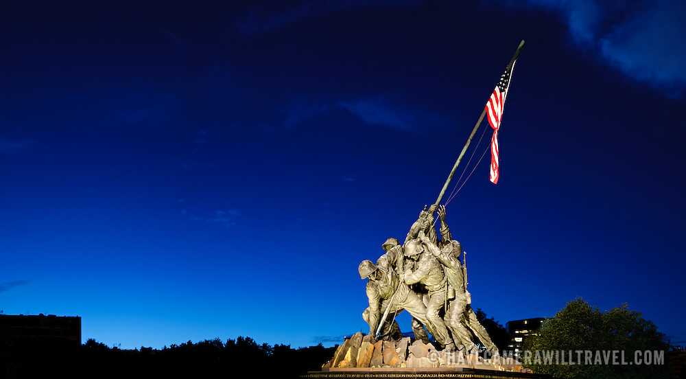 Iwo Jima Memorial, Arlington, Virginia, in the evening