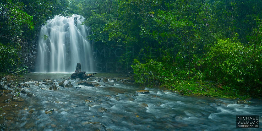 Taken during a heavy shower in the monsoon season, this photograph showcases the beauty of a waterfall on the Atherton Tablelands.<br /> <br /> Code: BAQT0016<br /> <br /> Limited Edition Print