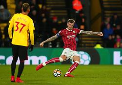 Aden Flint of Bristol City passes the ball - Mandatory by-line: Robbie Stephenson/JMP - 06/01/2018 - FOOTBALL - Vicarage Road - Watford, England - Watford v Bristol City - Emirates FA Cup third round proper