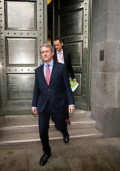 © London News Pictures. 09/02/2013 . London, UK.  Secretary of State for Environment, Food and Rural Affairs, OWEN PATERSON leaving the Department for the Environment, Food and Rural Affairs in London to talk to the media after meeting with representatives of the FSA, as well as food retailers and suppliers, to discuss the unfolding scandal over horsemeat being found in various products.. Photo credit : Ben Cawthra/LNP