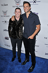 (L-R) Colton Haynes and Cheyenne Jackson arrives at Jessie Tyler Ferguson's 'Tie The Knot' 5 Year Anniversary celebration held at NeueHouse Hollywood in Los Angeles, CA on Thursday, October 12, 2017. (Photo By Sthanlee B. Mirador/Sipa USA)